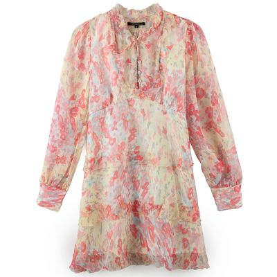 Ladies Silk Woven Dress With Printing